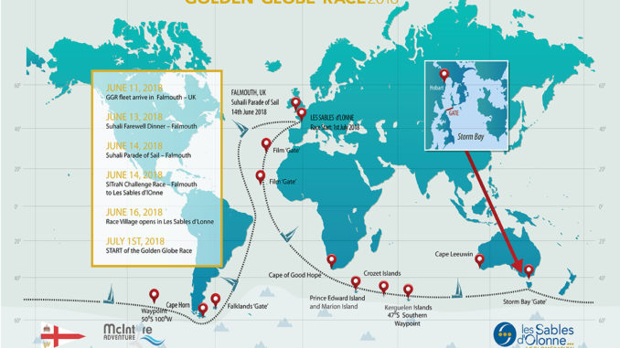 The 2018 Golden Globe solo non-stop round the world Race will start from Les Sables d'Olonne France on 1st July 2018 and the yachts will return to the same port in March/April 2019