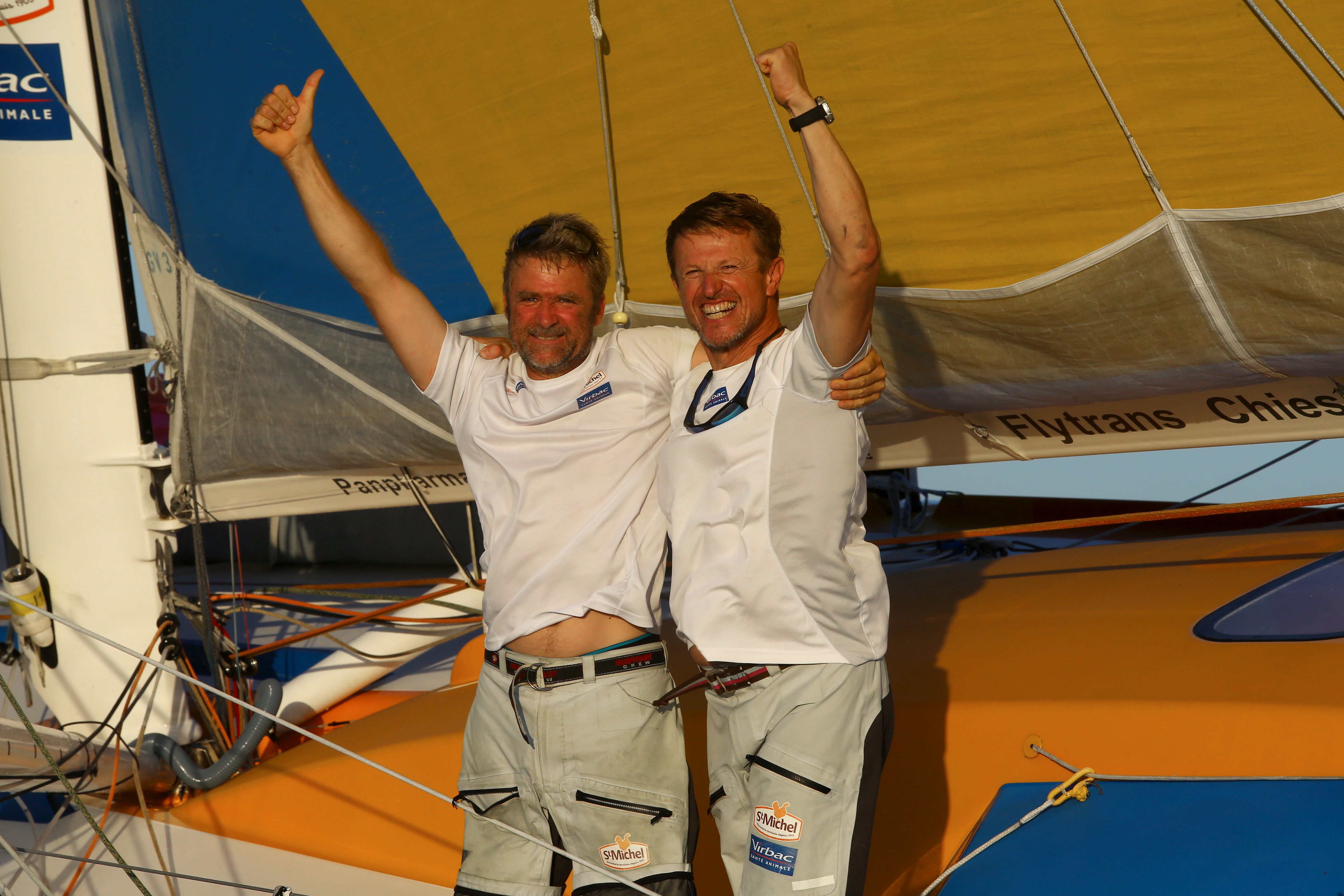 Winner in Imoca category for St Michel - Virbac, skippers Jean-Pierre Dick and Yann Elies, in 13d 7h 36mn 46s, during arrivals of the duo sailing race Transat Jacques Vabre 2017 from Le Havre (FRA) to Salvador de Bahia (BRA), on November 18th, 2017 -