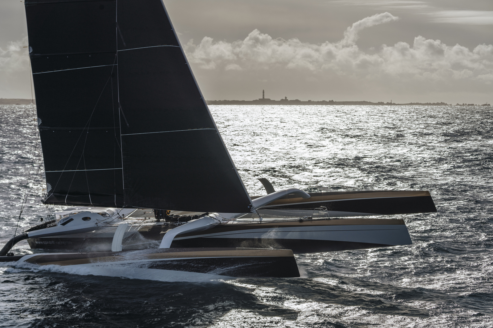 OUESSANT, FRANCE, JANUARY 16th 2019: Spindrift racing at the start of the Jules Verne Trophy.